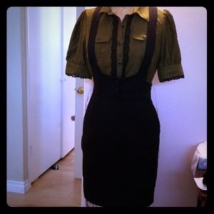 Forever 21 black overall dress professional office